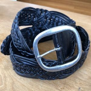 Lands' End black  braided leather belt